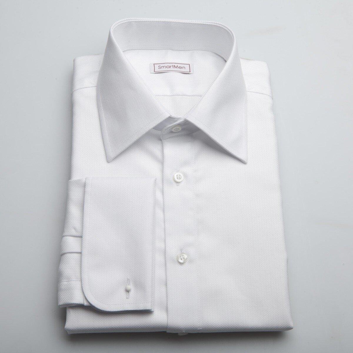 dd186fbae99c Biela luxusná košeľa SmartMen s manžetovými gombíkmi
